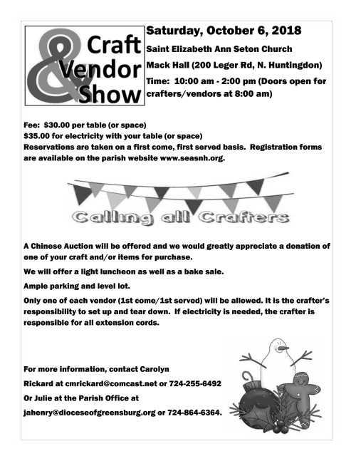 Vendors needed for craft show 2018-001-001