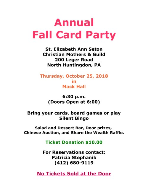 Card Party Flyer Oct. 25 2018-001-001