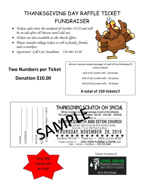 Flyer for Thanksgiving Raffle Ticket - 2019-001-001