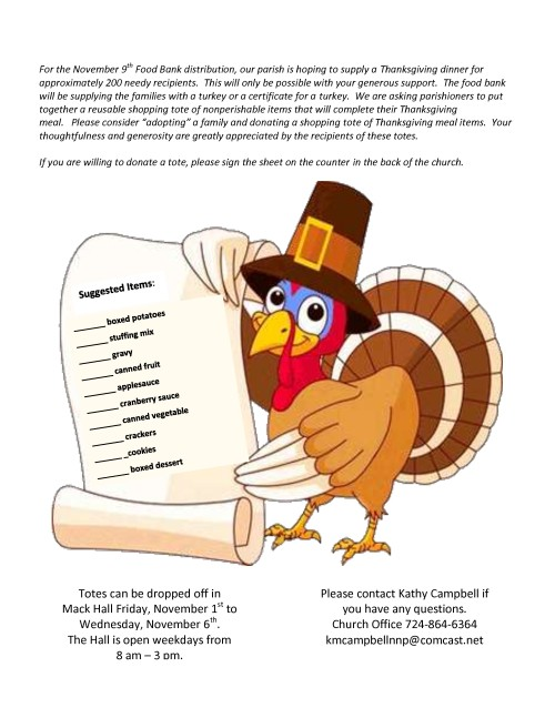 Thanksgiving Tote Flyer for Bulletin 2019-001-001