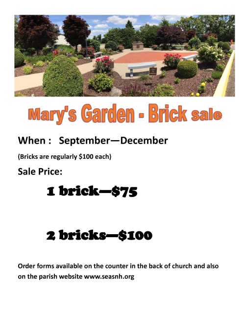 Mary garden brick sale 2020-001-001